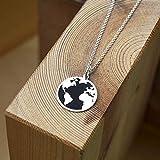 Collar Mapamundi Plata, Collar Mundo Plata, Colgante Mundo Plata, Gargantilla Tierra, Colgante Mapamundi, Collar Earth