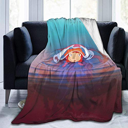 Manta de Felpa Suave Po-nyo y So-suke para Todas Las Estaciones, cálida, Ligera, de Viaje, térmica, con Peso, Mantas de Playa para sofá Cama, sofá de 60 'x 50'