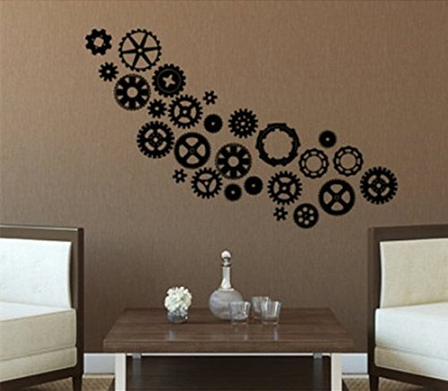 YINGKAI Steampunk Gears & Cogs Living Room Vinyl Carving Wall Decal Sticker for Home Decoration
