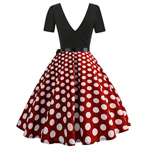 FOTBIMK Damen Mode Print Kleid Frauen Ärmel Mode-Druck Vintage Flare-Kleid(Large,Rot)