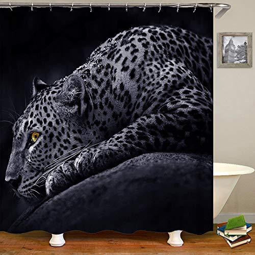 Shocur Black Panther Duschvorhang Tropical Dschungel Speed Leopard 183 x 183 cm Cheetah Theme Badvorhang, Polyestergewebe Badezimmer Dekor Set mit 12 Haken