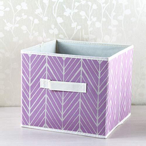 ZQ&QY Impresión Plegable Bolsa De Almacenamiento con Handle,Ahorro De Espacio Portátil Caja De Almacenaje,Sostenible Cajas Organizadoras para Organizar Juguetes De Ropa-Púrpura 28x28x28cm(2pcs)