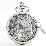 Reloj de bolsillo, mecánico clásico Europeo y Americano a Dos Caras, Adecuado para cumpleaños, Festivo, Boda (Design : A)