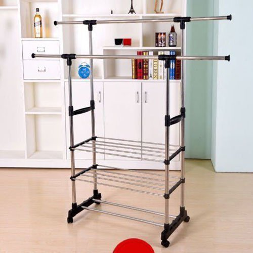 Adava Clothes Drying Rack Stainless Steel Double Hanging Rod 3 Layers Design Save Space Easy Storage Stable Durable for Indoor and Outdoor Use