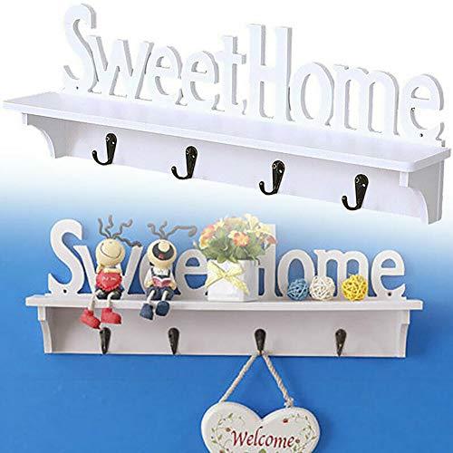 HomLand Wooden Wall Mount Rack DIY Sweet Home Storage Shelf Hooks Bedroom Hanger Holder for Home