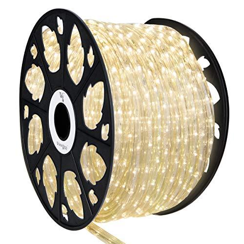 150' Warm White LED Rope Light, LED Flexible Light Rope String Light Outdoor – LED Light Rope Bedroom LED Light Rope, 120V, ½ Inch, 2-Wire (150 ft, Warm White)