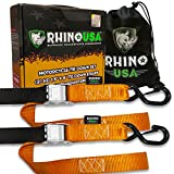RHINO USA Motorcycle Tie Down Straps (2 Pack) Lab Tested 3,328lb Break Strength, Steel Cambuckle Tiedown Set with Integrated Soft Loops - Better Than a Ratchet Strap…