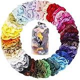 YITHINC 50 STÜCK Scrunchies Samt,Elastische Haarbänder Haargummis Bobbles Haargummis für Frauen Mädchen mit Geschenktüte, 50 Verschiedene Farben