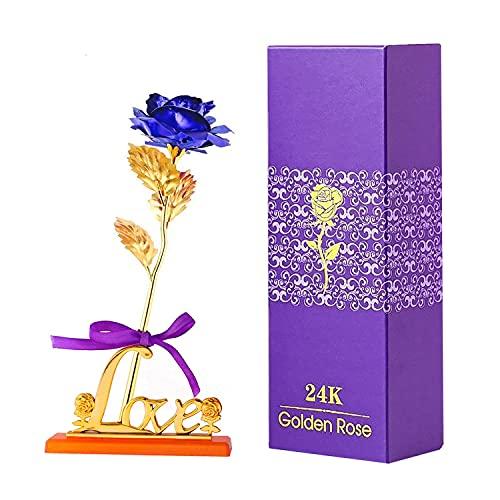 TSHAOUN Rosa Oro 24K, Eterna Flores Artificiales,con Soporte en Forma de corazón,Regalo Romántico para Esposa y Novia para el Día de San Valentín,Boda,Aniversario, Día de Madre, Cumpleaños (Azul)