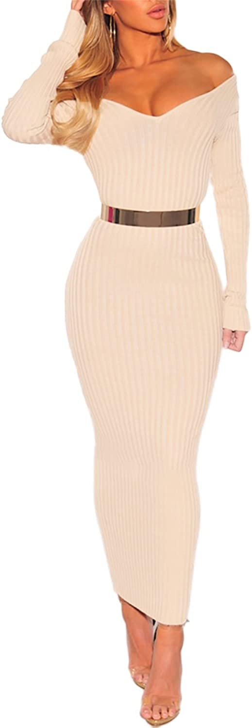 Trendy&Boutique Womens Off Shoulder Ribbed Long Sleeve Bodycon Maxi Dress