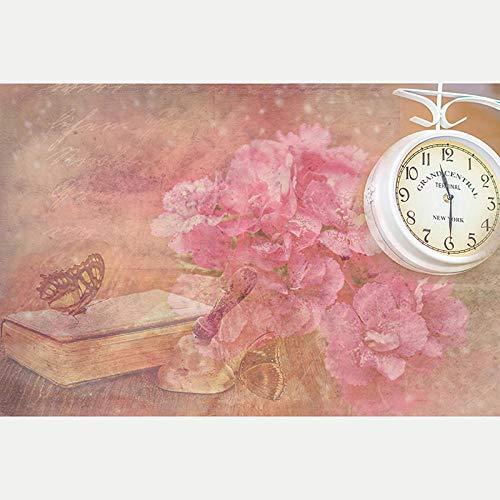 5D Diy Pintura diamante Reloj mariposa floral rojo 5D Kit de Pintura de Diamante Rhinestone Bordado de Punto de Cruz Artes Manualidades Lienzo Pared Decoración 30X40cm(Sin marco)