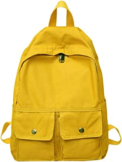 Simple Literary Schoolbag, Solid Color Large Capacity Light Breathable Backpack, Teen Boy Girl School College Reduce Burden Canvas School Bag,Yellow
