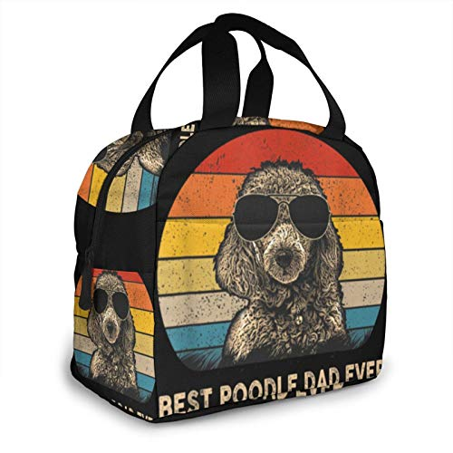 Vintage Best Poodle Dad Ever Dog Daddy Father Lunch Bag for Women and Men Large Tote Insulated Lunch Box with Pockets Shoulder Strap for Work Picnic Travel Lunch Container