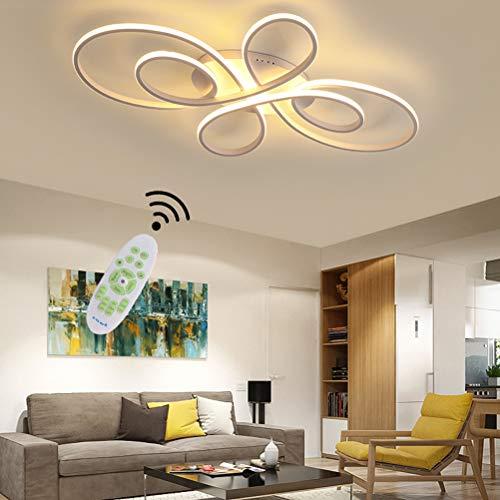 Lampara de techo para salon de color blanco LED Moderna Regulable Mesa de comedor Dormitorio Decor lampara con mando a distancia diseno de acrilico pantalla colgante para cocina bano Blanco L80cm