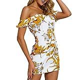 BAOHOKE Women's Summer Off-Shoulders Floral Print Halter High Waist Mini Dresses,Sleeveless Ruffle Skinny...