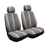 4 Pc Universal Baja Inca Saddle Mexican Blanket Front Seat Covers Pair Low Back