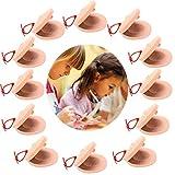 JUSTDOLIFE 12PCS Castañuelas de dedo para niños DIY Instrumento musical de madera Instrumento de percusión
