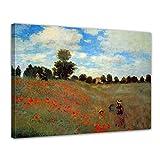 Wandbild Claude Monet Mohnfeld bei Argenteuil - 60x50cm quer - Alte Meister Berühmte Gemälde Leinwandbild Kunstdruck Bild auf Leinwand