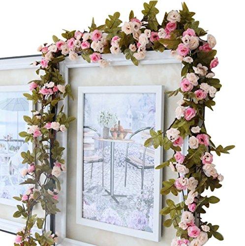 Rosengirlande, Blumen, Retrostil, 213 cm, Schlafzimmer, Dekoration, Hochzeit