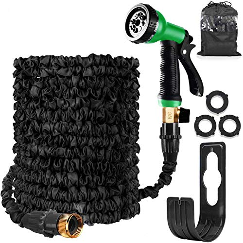 HOMOZE Garden Hose Expandable Hose Pipe 50FT Flexible and Expanding Garden Water Hosepipe With Brass Fittings/8 Function Spray Nozzle/Hose Hanger-For Garden, Watering, Cleaning (Black)