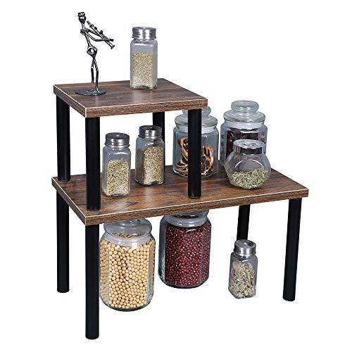 OROPY Stapelbares Küchenregal, 2er-Set Arbeitsplatten Organizer für Platz sparen, Multifunktionärer Regal für Küche Geschirr, Gewürzflaschen, Tassen oder Badezimmerzubehör