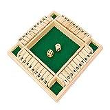 Holzbrettspiel Vierseitiges Brettspiel Shut The Box Flop-Spie Holz Tisch Spiel Würfelspiel Board Spielzeug für Die Ganze Familie