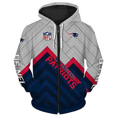 NFL American Football New England Patriots Schnelltrocknendes T-Shirt Jersey Logo Reißverschluss-Sweatshirt Langarm Hoodies