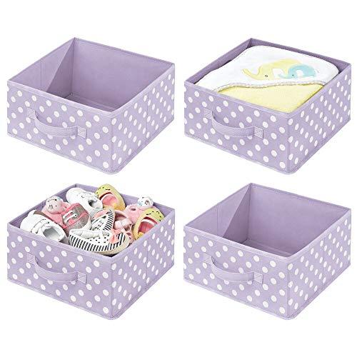 mDesign Juego de 4 cajas organizadoras para habitaciones infantiles – Organizadores de armarios con asa y parte superior abierta – Cajas de tela para juguetes en fibra sintética – violeta/blanco