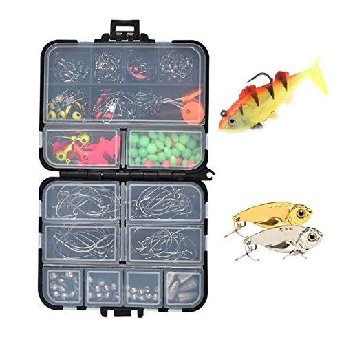 Angelhaken Kit Parkarma 207pcs Angelzubehör Set Angeln Spinner Kommt mit Künstlichen Fischködern Forellen Köder mit Angehen Box