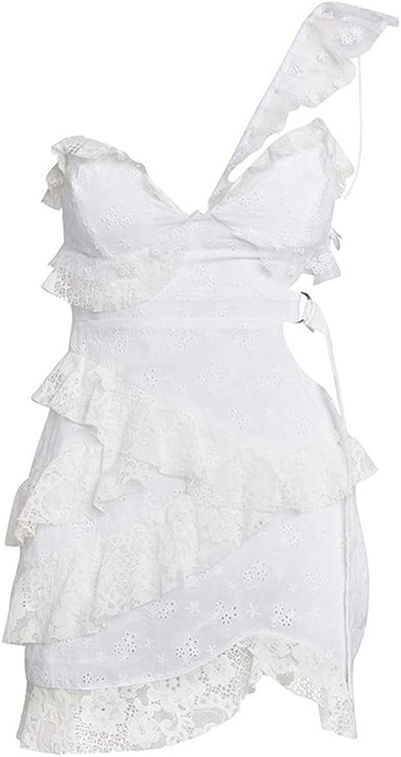 Cute Emma Ruffles Patchwork Sleeveless Sexy White Dress Women High Waist Lace Up Hollow Out Asymmetrical Mini Dress