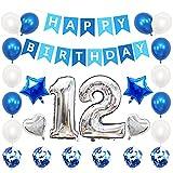 Liitata Globos de cumpleaños para 12 cumpleaños plateados y azules, con número 12, con forma de corazón, globos de helio, confeti, globos para niñas y niños