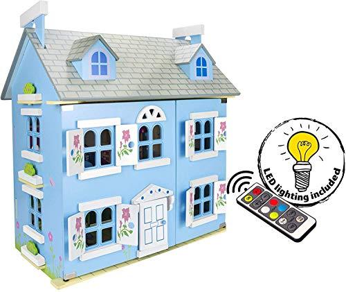 Leomark Alpine Villa Puppenhaus aus Holz mit Möbeln und Familie - Farbe blau - Familienhaus mit möbel mit zubehör, für Kinder, Höhe 60 cm + LED-Beleuchtung mit Fernbedienung + LED- Band kostenlos