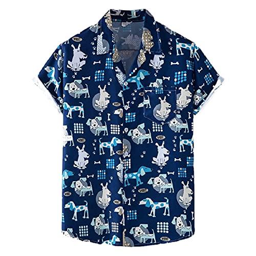 Hawaiana Camisa Hombre Verano Moda Botón Placket Hombre Casuales Camisas Holgado Cuello V Manga Corta Camiseta Wicking Transpirable Hombre Deportiva Camisa XH68 3XL