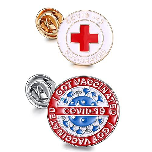 LIU JUN Covid Vaccinated Pin for Covid-19 Coronavirus,Gold Plated Cute Enamel Lapel Medical Alert Symbol USA Brooch Pin Vaccinated Memorial for Bag Shirt 2pcs (A)