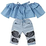 Emmababy Newborn Kids Baby Girls Off Shoulder Tops Denim Pants Hole Jeans Outfits Toddler Infant Clothes (Blue, 6-12Months)