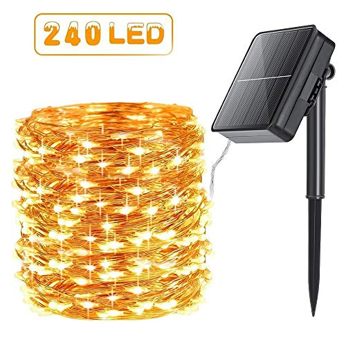 Qedertek 240 LED Guirlande Solaire Extérieure, 24M Guirlande Lumineuse Solaire IP65 Etanche Lampe Décorative Solaire pour Jardin d'été, Patio, Tente, Mariage - Blanc Chaud