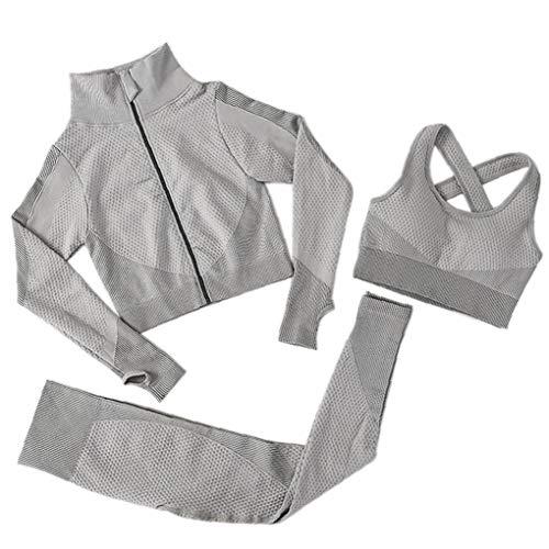 OMMO LEBEINDR 3Pcs Seamless Frauen Yoga-Anzug Langarm Mantel Weste Leggings Fitnessanzug Gym Sportbekleidung Set (Grau, XL) ?OPP?