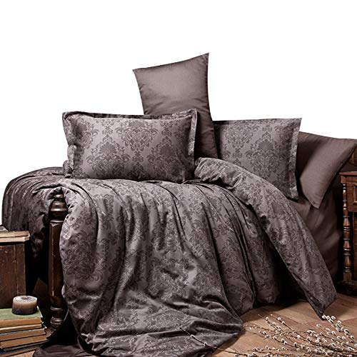 ZIRVEHOME Satin Bettwäsche 200x220 cm. Braun 100% Baumwollsatin, Barock Muster, 5 teilig Set, Verdeckter Reißverschluss, Kavala V1,