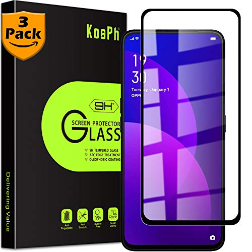 [3-Pack] KOSPH for OPPO (F11 Pro) Tempered Glass Screen Protector, 9H Anti-scratch, 2.5D Arc Edge, Oleophobic Coated, Sensitive Touch, High Clarity (Max Coverage, Black)