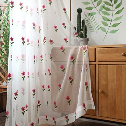 HM&DX Faux Leinen Transparent Voile Gardinen Floral Bestickt,dekorative Voile Vorhänge,lichtfilterung Tüll Vorhang Vorhänge Wohnzimmer ösen 350x270cm(138x106in)