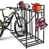 Sanheshun Soporte para bicicleta con 4 soportes para bicicletas con cesta de almacenamiento y 4 ganchos, para almacenamiento de garaje, montaña, híbrido, para niños, ruedas de interior y exterior
