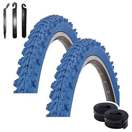 Maxxi4you - Set di 2 pneumatici Kenda K-829 Psycho 24' MTB, rivestimento blu 50-507 (24 x 1,95) + 2 camere d'aria abbinate AV con 3 leve per pneumatici