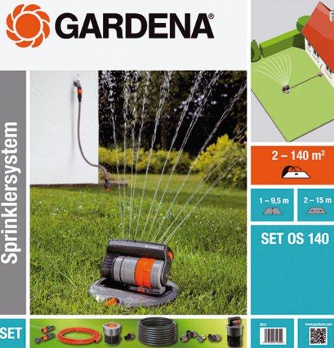 Gardena Sprinklersystem Komplett-Set mit Versenk-Viereckregner OS 140: Bewässerungssystem für quadratische und rechteckige Flächen bis max 140 m², ebenerdig montiert (8221-20)