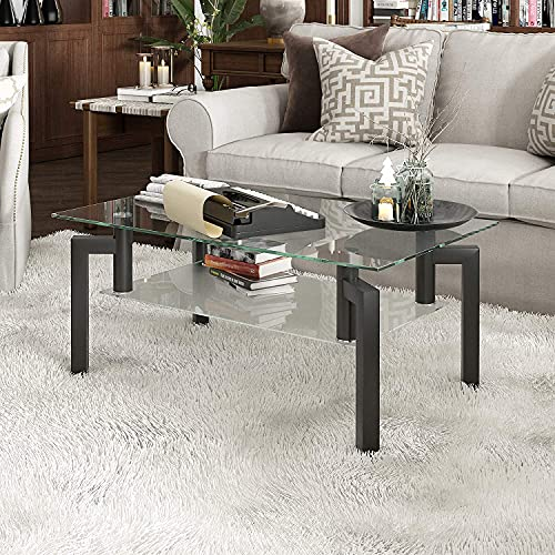 Depointer Life Glass Coffee Table, Rectangle Coffee Table for Living Room Modern Side Coffee Table...
