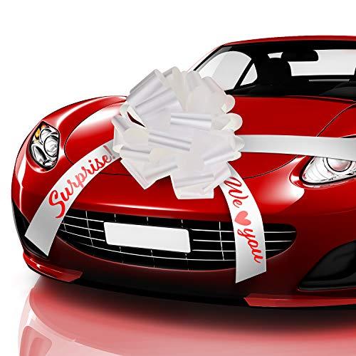 20 Zoll Auto Schleife Pull Weiß Auto Geschenkpapier Bogen, We Love You Überraschung Auto Schleife mit 20 Fuß Auto Band für Auto Dekor Hochzeit New Houses Party Feier