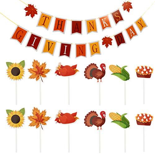 PRETYZOOM Thanksgiving Day Banner Paper Bunting Garland Hanging Flag Maple Turkey Cupcake Topper Cake Decor Autumn Fall Harvest Party Supplies 13pcs