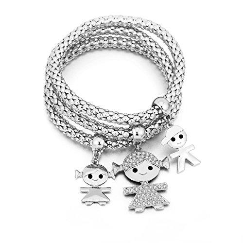 Braccialetto di fascino per donne, collana di ciondolo per bimbi Braccialetto di amicizia per bracciale con cristallo (3 pezzi/set) (Placcato argento)