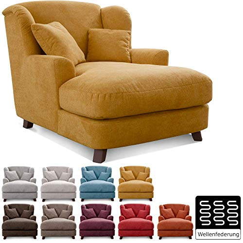Cavadore XXL-Sessel Assado / Großer Polstersessel mit Holzfüßen und großer Sitzfläche / Inkl. 2 Zierkissen / 109 x 104 x 145 / Webstoff Gelb