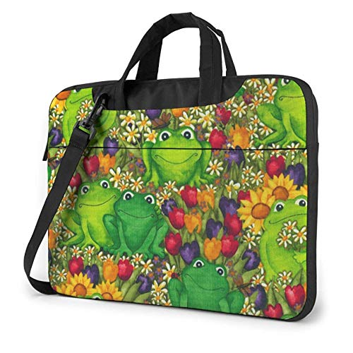 Waterproof Laptop Shoulder Messenger Bag Frog Printed Case Sleeve for 14 Inch Laptop Case Laptop Briefcase