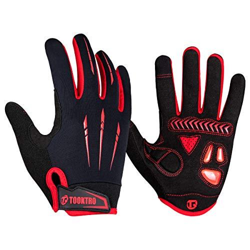 WACCET Vollfinger Fahrradhandschuhe Herren Radsporthandschuhe Mountainbike Handschuhe mit Touchscreen Finger, Atmungsaktiver rutschfeste MTB Handschuhe mit Gel für Männer und Frauen (Rot2, XL)